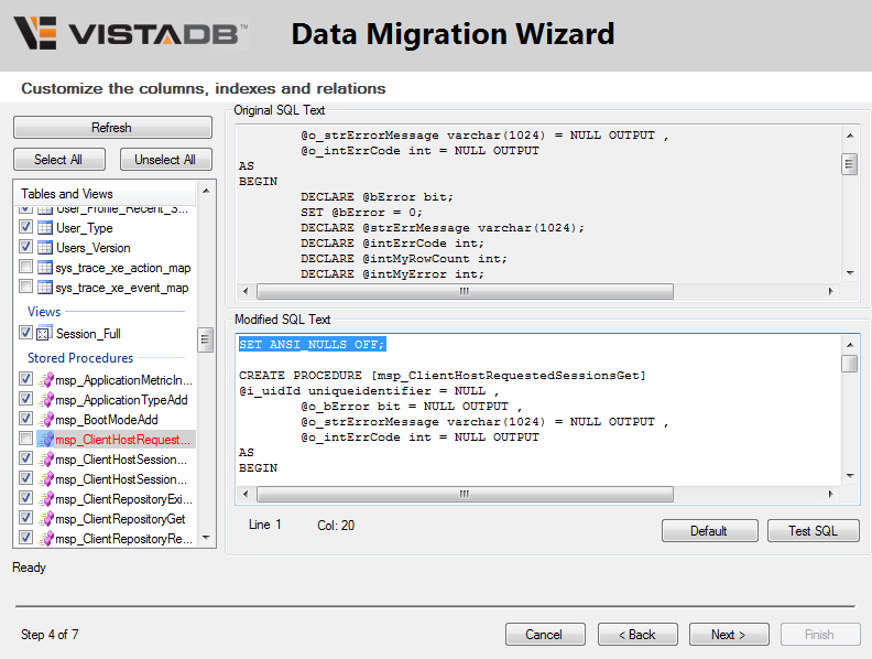 VistaDB DMW Sproc Error