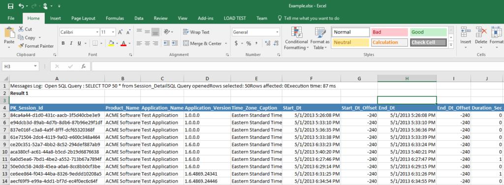 VistaDB Save As Excel